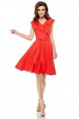 Czerwona Rozkloszowana Sukienka z Kopertowym Dekoltem z Falbanką