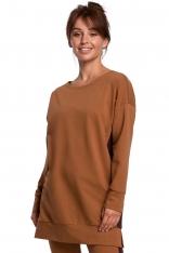 Dłuższa Bluza z Lampasami - Karmelowa
