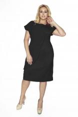 Czarna Wieczorowa Sukienka Plus Size z Ozdobną Nakładką