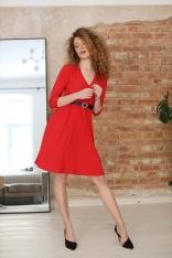Rozkloszowana Sukienka w Serek - Czerwona