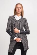 Czarny Stylowy Sweter Narzutka z Dodatkiem Eco-Skóry