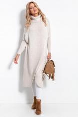 Długi Kopertowy Sweter z Golfem - Beżowy