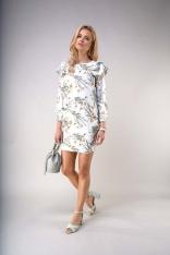 Wzorzysta Mini Sukienka z Falbanami na Ramionach
