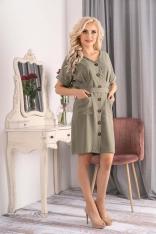 Sukienka Szmizjerka z Krótkim Rękawem - Khaki