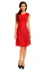 Wytworna i Elegancka Sukienka Midi z Drapowaną Różą - Promocja!!!