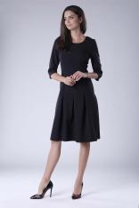 Czarna Wizytowa Sukienka z Obniżonym Stanem