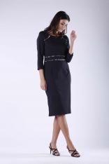 Czarna Elegancka Ołówkowa Sukienka z Dodatkami w Panterkę