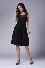 Czarna Rozkloszowana Sukienka Midi z Prześwitującym Karczkiem