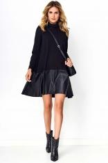 Czarna Sukienka z Golfem i Skórzaną Falbanką