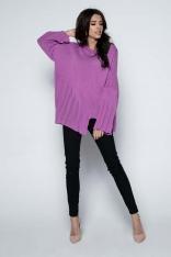 Fioletowy  Sweter Asymetryczny z Rozkloszowanymi Rękawami