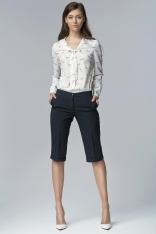 Granatowe Eleganckie Spodnie do Kolan z Mankietem