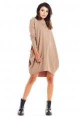 Beżowa Bawełniana Luźna Sukienka z Długim Rękawem