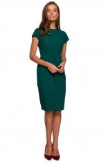 Minimalistyczna Ołówkowa Sukienka z Przeszyciami - Zielona