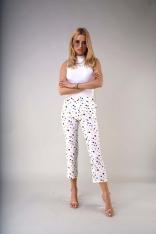 Materiałowe Spodnie 7/8 z Prostymi Nogawkami - Kolorowe Plamki