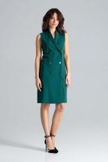 Zielona Dwurzędowa Sukienka Szmizjerka