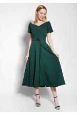 Rozkloszowana Midi Sukienka z Dekoltem Carmen - Zielona