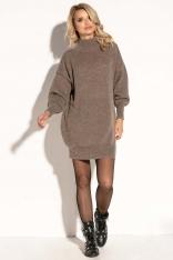 Mocca Swetrowa Mini Sukienka z Półgolfem