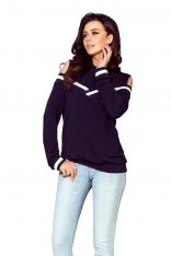Granatowa Bluza Typu Cold Shoulder z Kontrastowymi Lamówkami