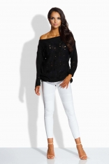 Sweter z Ażurowym Wzorem - Czarny