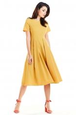 Żółta Elegancka Rozkloszowana Sukienka z Krótkim Rękawem
