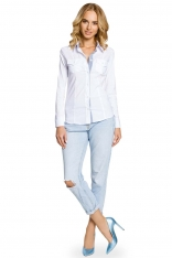 Biała Klasyczna Koszula z Długim Rękawem z Kontrastową Plisą