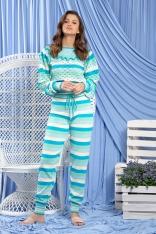 Uroczy Komplet w Paski Bluzka i Spodnie - Niebieski