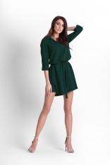 Zielona Rozkloszowana Sukienka Koszulowa z Paskiem