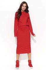 Czerwona Sukienka Kimonowa Midi z Gumką w Pasie
