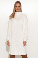 Swetrowa Sukienka z Zabudowanym Dekoltem - Ecru