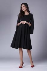 Czarna Sukienka Midi z  Wirującym Dołem i Rozciętym Rękawem