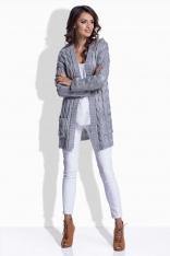 Szary Sweter Długi bez Zapięcia w Warkocze