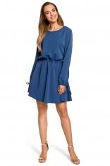 Niebieska Rozkloszowana Sukienka z Rozcięciem i Wiązaniem na Rękawach