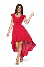 Elegancka Maxi Czerwona Sukienka w Typu Hiszpanka