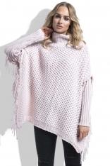Różowy Sweter Ponczo z Frędzlami