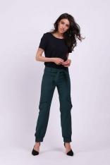 Zielone Nowoczesne Spodnie z Kieszeniami Typu Cargo