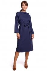 Niebieska Sukienka Dzianinowa Midi z Asymetrycznym Dekoltem