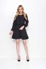Czarna Sukienka z Falbankami i Wiązaniem przy Dekolcie