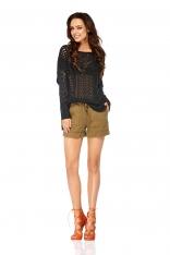 Czarny Lekki Ażurowy Sweter Oversize
