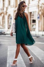 Zielona Zwiewna Koktajlowa Sukienka z Dekoltem Halter na Stójce