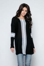 Czarny Długi Sweter -Tunika z Kontrastowymi Paskami