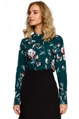Zielona Koszulowa Bluzka w Kolorowe Kwiaty z Falbankami