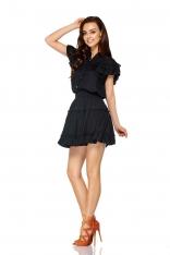 Czarny Uroczy Komplet Bluzka + Krótka Spódnica z Falbankami