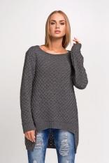 Akrylowy Grafitowy Sweter z Dłuższym Tyłem