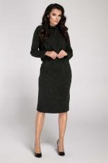Czarna Sukienka Mini z Półgolfem