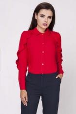 Czerwona Ponadczasowa Koszula z Falbankami