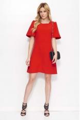 Czerwona Sukienka Trapezowa z Kloszowanym Rękawem