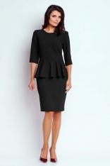 Czarna Wizytowa Sukienka Mini z Baskinką