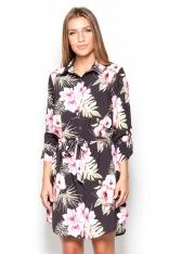 Długa Koszula-Tunika we Wzory Kwiaty na Czarnym Tle
