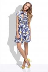 Niebieska Letnia Sukienka z Tropikalnym Wzorem z Ozdobnymi Falbankami