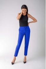 Kobaltowe Klasyczne Spodnie Cygaretki z Ozdobnym Zapięciem